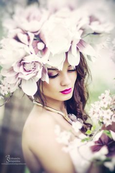 Beauty photo shoot with flowers