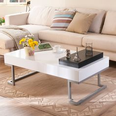 Lanique White Coffee Table.