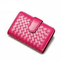 Luxury Genuine Leather Women Weave Wallets Coins Card Holder Purse Wallet Lady Fashion Clutch Womens Purses