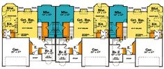 First Floor Plan of Ranch   Traditional   Multi-Family Plan 68719