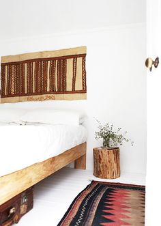 the rug is a vintage Afghan carpet, the artwork above the bed is an old bark tapa cloth from Papua New Guinea - A Interior Design My New Room, My Room, Estilo Interior, Beautiful Bedrooms, Dream Bedroom, Scandinavian Style, Home And Living, Room Inspiration, Living Spaces