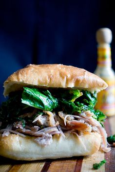 Pulled Pork, Greens and Bacon Sandwich – Put some South in your mouth!