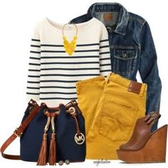 21 stylish yellow pants outfits for colored style - Moda Yellow Jeans Outfit, Colored Jeans Outfits, Yellow Skinny Jeans, Jean Outfits, Casual Outfits, Cute Outfits, Mustard Jeans Outfit, Mustard Yellow Pants, Colored Pants