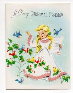 Vintage Unused Dreyfuss Christmas Greeting Card Adorable Girl Carolling W/ Birds