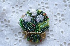 """Handmade beaded brooch """" Lily of the Valley"""" by OlgaWhitman on Etsy Lesage, Beaded Brooch, Lily Of The Valley, Handmade, Etsy, Color, Jewelry, Colour, Jewels"""