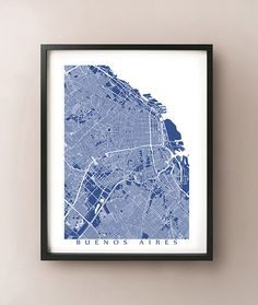 Buenos Aires Map Print Argentina Map Art Argentina Poster - Argentina map to print