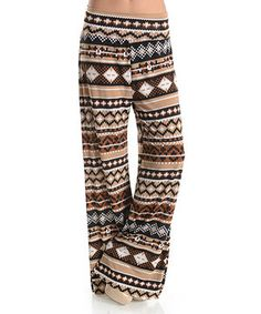 Look at this #zulilyfind! Brown & Taupe Tribal Palazzo Pants by Elegant Apparel #zulilyfinds