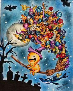 Livro: Doodles Invasion Pintado por: @gabrielalimacaires #topcoloridos…