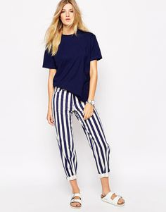 Bethnals Charlie Wide Leg Boyfriend Jeans With Roll Hem In Deck Chair Stripe Co-Ord: crew neck shirt + slippers: Birkenstock
