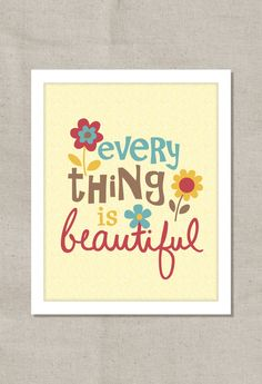 Everything Is Beautiful Blue Red & Yellow 8x10 Wall por colorbee, $15,00