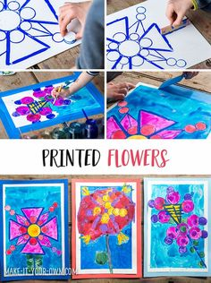 Printed Flowers From Recycled Items - This activity builds children's observational skills and gets them re-imagining lids from the recycling bin and other items as printing tools. *Love this kids art activity