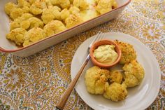 Garlic roasted cauliflower with dipping sauce--I like to roast cauliflower with garlic and serve it with a dipping sauce - it's great as an appetizer or a kid-friendly side. Try this recipe, which calls for a curry aioli dipping sauce. Vegetable Recipes, Vegetarian Recipes, Cooking Recipes, Healthy Recipes, Garlic Recipes, Veggie Side Dishes, Vegetable Dishes, Main Dishes, Roasted Cauliflower
