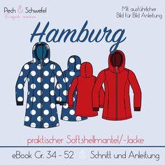 HAMBURG ist ein praktischer Softshellmantel mit Kapuze und seitlichen Eingrifftaschen, der geschickt platzierten Nähten und einer Raffung.