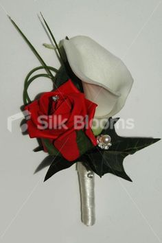 silk cala lillies and red rose bouquet | White Calla Lily & Red Rose Grooms Artificial Wedding Buttonhole