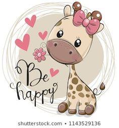 Greeting card Cute Cartoon Giraffe with flower