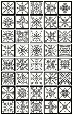 Blackwork collection..20 bookmarks, 40 snowflakes and floral borders pdf file