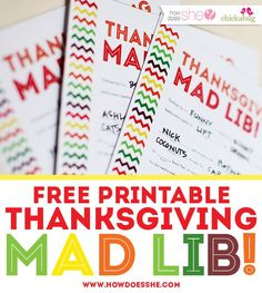 Free Thanksgiving Mad Lib Printables