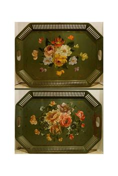 Pair TOLEWARE TRAYS - Vintage Green RETICULATED Painted Floral