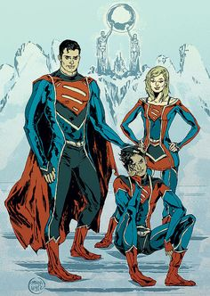 Superman, Supergirl, and Superboy by Ming Doyle Marvel Vs, Marvel Dc Comics, Dc Comics Collection, Spiderman, Hq Dc, Univers Dc, Supergirl Dc, Superman Family, Supergirl Comic