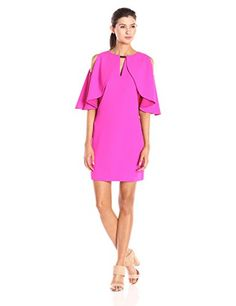 Trina Turk Women's Redford Classic Crepe Cape Dress, Brilliant Fuchsia, 0 * Learn more by visiting the image link.
