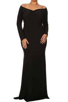 BIG'n'BEAUTIFUL Black Off-shoulder V Neck Long Sleeve Plus Size Dress