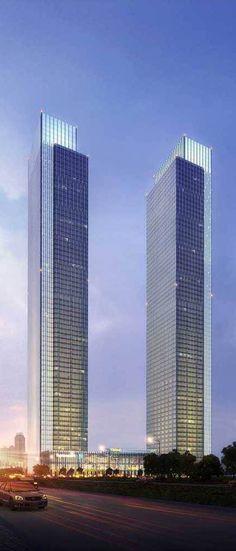Hengli Towers, Dalian, China by Mulvanny G2 Architecture :: 68 floors, height 267m