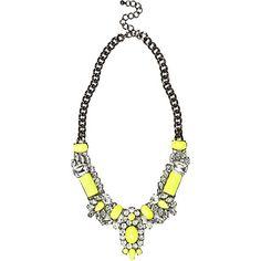 Fluro yellow short statement necklace
