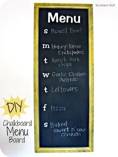 DIY Chalkboard Menu- use an old frame from a thrift store!
