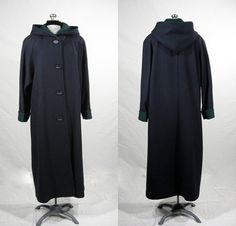 Long hooded navy blue wool coat with Logan by VintageRoseTattoo