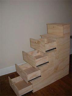 Diy Bunk Bed Plans With Stairs - WoodWorking Projects & Plans Diy Etagenbett Pläne mit Treppen - Hol Bunk Beds Built In, Modern Bunk Beds, Bunk Beds With Stairs, Kids Bunk Beds, Loft Beds, Bunk Bed Steps, Bedroom Loft, Loft Bed Stairs, Bedroom Storage