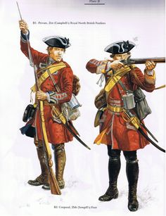 CHURCHILL: Private Foot (Campbell's) Royal North British Fusiliers and Corporal Foot (Semphill's), by (artist unknown). If you know the artist and can supply a link, please update this pin. British Army Uniform, British Uniforms, British Soldier, American Revolutionary War, American Civil War, Military Art, Military History, Military Uniforms, Frederick The Great