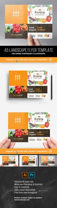 Farmers Market Flyer Template Vol.2 Farmers Market Flyer Template Vol. 2Quickly & easily create professional flyer designs for farmers markets & organic produce fairs with this readymade flyer template for Photoshop & Illustrator. Get the full Farmers Market Templates Pack here: https://graphicriver.net/item/farmers-market-templates-pack/20773142 This template is very easy to use
