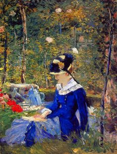 Édouard Manet   Young Woman in the Garden, 1880   oil on canvas 153.7 x 116.8…