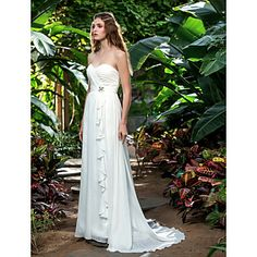 A-line Sweetheart Sweep/Brush Train Chiffon Wedding Dress (710771) – USD $ 119.99
