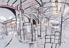 lucinda rogers drawing ink watercolour prints for sale borough market london food life people
