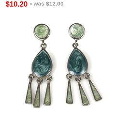 Blue Green Enamel Fringe Dangle Earrings Pierced by TheFashionDen
