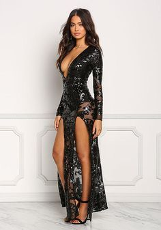 Black Mesh Sequin Plunge High Slit Maxi Gown - Midi and Maxi - Dresses