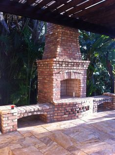 Brick, outdoor fireplace by Brandel Masonry in Davie, Fl.
