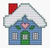 Cottage, free cross stitch patterns and charts - www.free-cross-stitch.rucniprace.cz