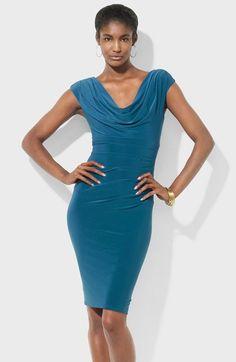 Lauren Ralph Lauren Cowl Neck Jersey Sheath Dress available at #Nordstrom