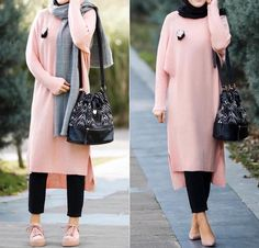 maxi sweater dress hijab-Colorful and chic hijab collection – Just Trendy Girls Street Hijab Fashion, Abaya Fashion, Modest Fashion, Fashion Outfits, Muslim Women Fashion, Islamic Fashion, Casual Hijab Outfit, Hijab Chic, Hijab Collection