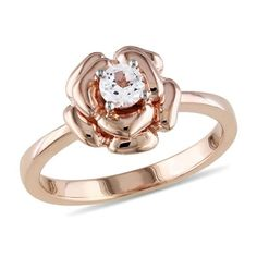 18K Rose Gold GP 1/3ct Round Cut White Sapphire Fashion Charmming Flower Ring #affinityengagementjewels #FlowerRing