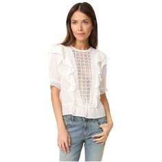Love Sam Top with Lace (8,160 DOP) ❤ liked on Polyvore featuring tops, blouses, snow, white lace blouse, crochet lace top, ruffle blouse, crochet blouse and white short sleeve blouse