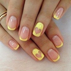 Color french manicure Heart nail designs June nails Manicure by yellow dress Manicure with a yellow gel polish ring finger nails Romantic nails Summer nails 2020 Ongles Gel French, French Tip Nails, French Manicures, French Tips, Color French Manicure, French Art, Yellow Nails Design, Yellow Nail Art, Ring Finger Nails