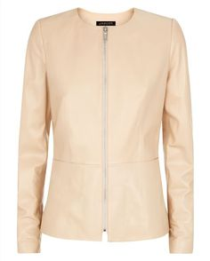 Jaeger Leather Waisted Jacket in Cuban sand.