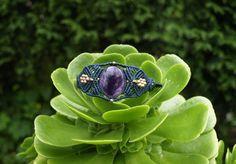 Amethyst Macrame bracelet, Amethyst gemstone bracelet, Amethyst gem stone jewelry, Bohemian jewelry, Tribal gypsy, Macrame jewelry