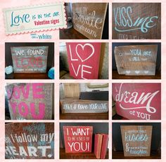 Love Is in the Air Reclaimed Wood Valentine Signs from Denise on a Whim