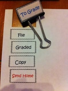 Binder Clip Labels to organize your teacher stuff. Use tape to place on clips. Trim if needed. Editable to add your own labels.