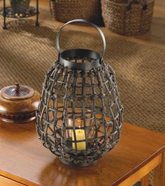 Brown Rattan-Look Jungle Candle Holder Lantern African Safari Home Decor