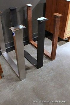 a pair dining table slab legs stainless steel flat iron or rust iron u shaped calabria stainless steel